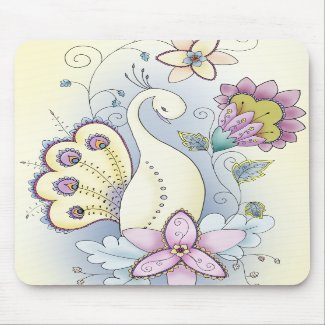 Floral Peacock Mouse Pad mousepad
