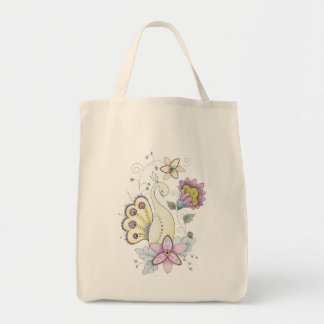 Floral Peacock Organic Grocery Tote