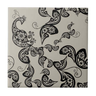 Floral Peacock Pattern Black Custom Gift Tile