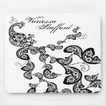 Floral Peacock Pattern Custom Gift Mousepad