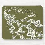 Floral Peacock Pattern White Custom Gift Mousepad