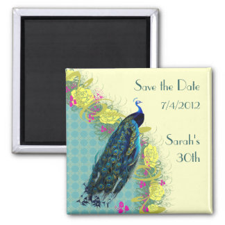 Floral Peacock Save the Date Magnet