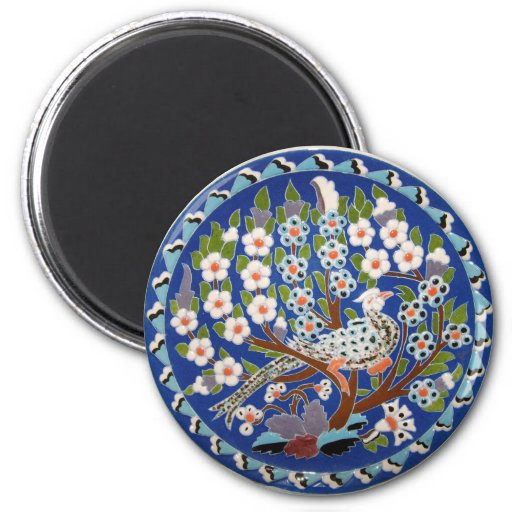 Floral Peacock Tile Art 2 Inch Round Magnet