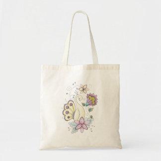 Floral Peacock Tote Bag