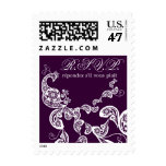 Floral Peacock White RSVP Wedding Custom Stamps