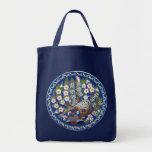 Floral Peafowl Grocery Tote Bag