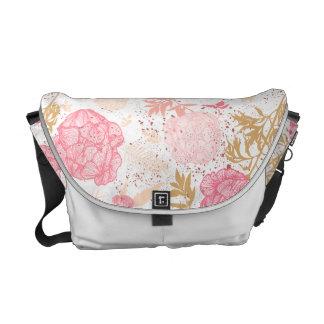 Floral Peonies Messenger Bag White Pink
