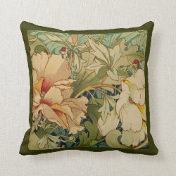 Floral Peony Vintage Victorian Pillow Throw