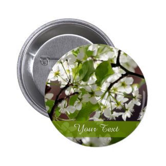 Floral Personalized Blossom Photo Pinback Button