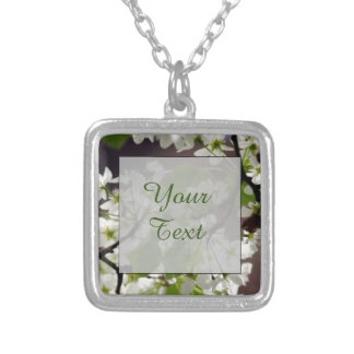 Floral Personalized Blossom Photo Silver Plated Necklace