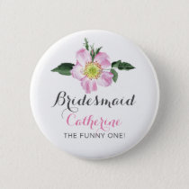 Floral Personalized BridesMaid button