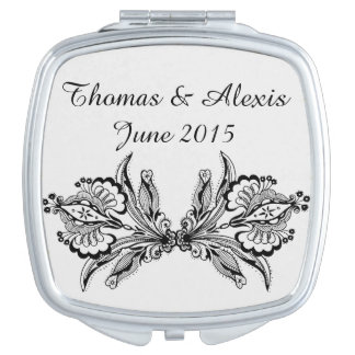 Floral Personalized Compact Mirror