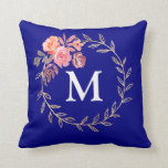 Floral Personalized Monogram Throw Pillow