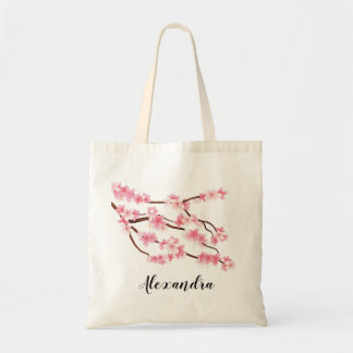 floral personalized name tote bag