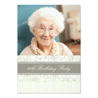 Floral Photo 80th Birthday Party Invitations