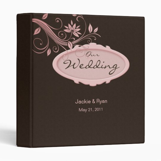 Floral Photo Binder Wedding Pink Brown