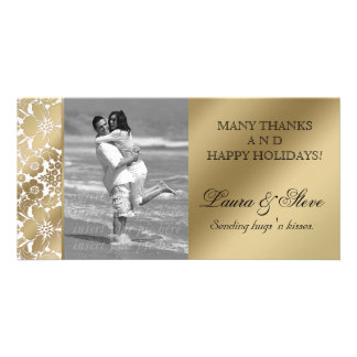 Floral Photo Card Save the Date Damask Gold White