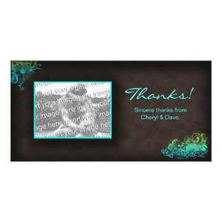 Floral Photo Card Template Blue Green Brown