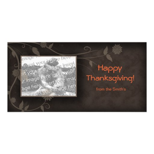 Floral Photo Card Template Brown Thanksgiving