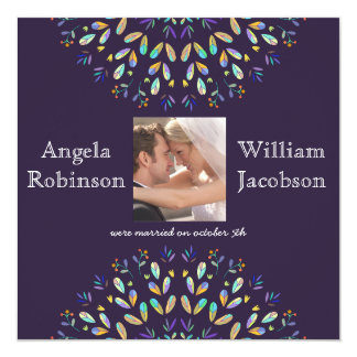 Floral Photo Chalkboard Post Wedding Invite