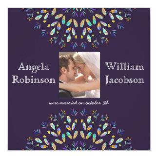 """Floral Photo Chalkboard Post Wedding Invite 5.25"""" Square Invitation Card"""