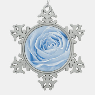 Floral Photo Dainty Light Blue Rose Snowflake Pewter Christmas Ornament