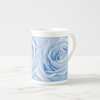 Floral Photo Dainty Light Blue Rose Tea Cup