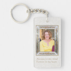Floral Photo frame Quote custom Memorial Keychain at Zazzle
