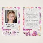 Floral Photo Funeral Memorial Prayer Card