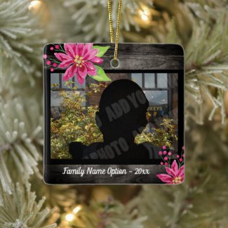 Floral Photo Keepsake Ceramic Ornament