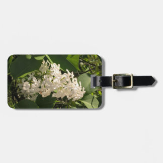 Floral photo luggage tag with white flower - lilac
