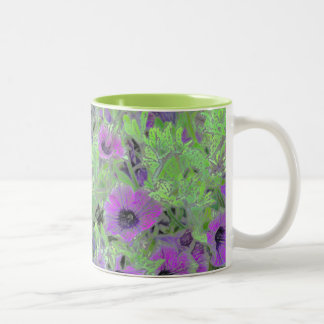 Floral PHOTO MANIPULATION, PURPLE PETUNIAS Two-Tone Coffee Mug
