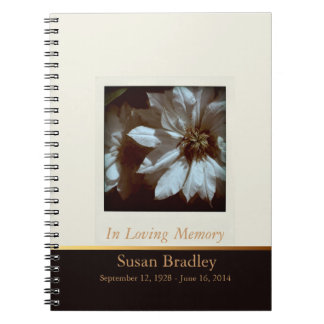 Floral Photography Clematis 3- Funeral Guest Book Spiral Notebooks