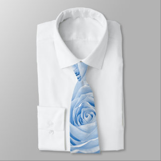 Floral Photography Dainty Light Blue Rose Pic Neck Tie