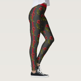 Floral Photography Red Rose and Stripes - Black Leggings