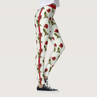 Floral Photography Red Rose and Stripes - White Leggings