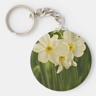 Floral Photography:  White Spring Narcissus Keychain