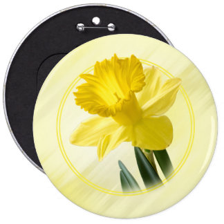 Floral Photography Yellow Daffodil Nature Pic Button