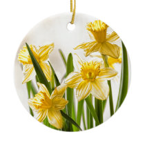 Floral Photography:  Yellow Spring Daffodils Ceramic Ornament