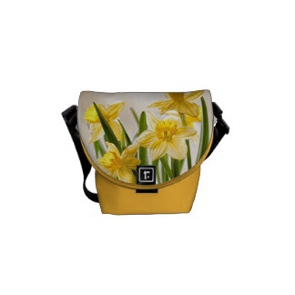 Floral Photography:  Yellow Spring Daffodils Messenger Bag