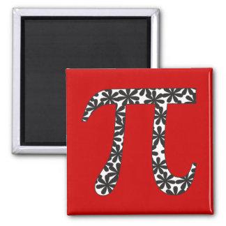 Floral Pi Math 2 Inch Square Magnet