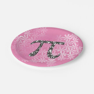 Floral Pi 7 Inch Paper Plate