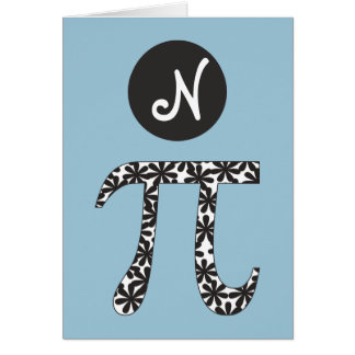 Floral Pi Symbol Math Themed Card
