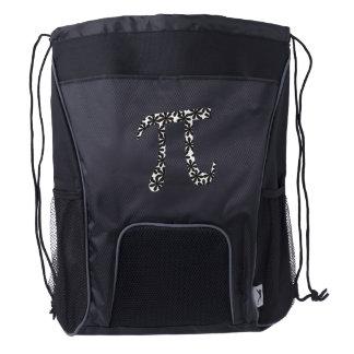 Floral Pi Symbol Math Themed Drawstring Backpack