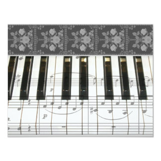 Floral Piano Keyboard Custom Invitations