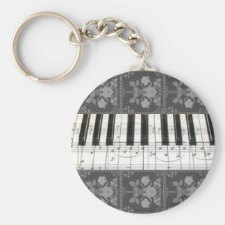Floral Piano Keyboard Keychain