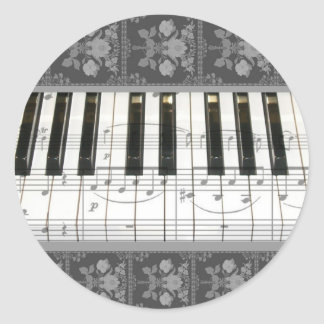 Floral Piano Keyboard Round Stickers