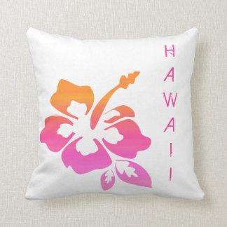 Floral Pillow Hibiscus Pink Orange Hawaii