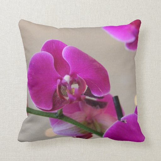 Floral Pillow, Pink Orchid, Reversible Throw Pillow
