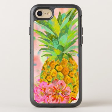 Beach Themed Floral pineapple OtterBox symmetry iPhone 7 case